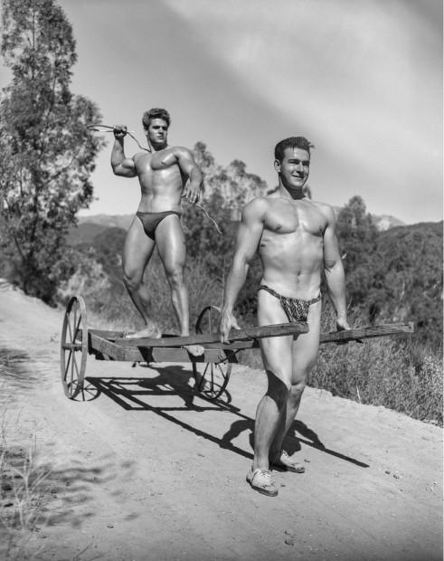 Bob Mizer, Richard DuBois and Hank Prater (cart and whip), Southern California, 1953
