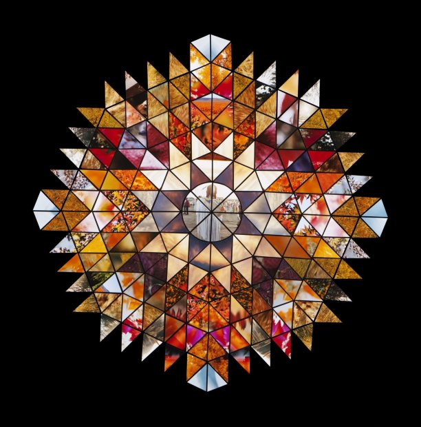 Lisa Eisner Indian Mandala No. 2 Fujiflex c-print assemblage mounted to plexiglass in oak frame 45 x 45 inches