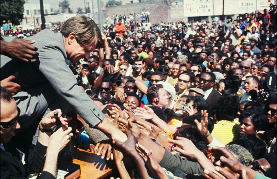 Howard L. Bingham Bobby Kennedy on the Presidential Campaign Trail, Watts, California chromogenic print 26 x 36 inches