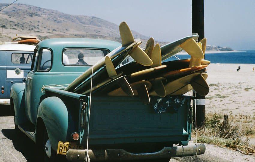 LeRoy Grannis Granny's Truck on Explorer Scout Trip, Leo Carrillo State Beach, California chromogenic print paper size: 26 x 36...
