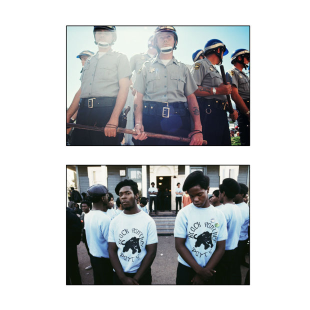 """Howard L. Bingham """"Standing Guard"""", Alameda County Police and Black Panthers, Oakland chromogenic print 30 x 30 inches"""