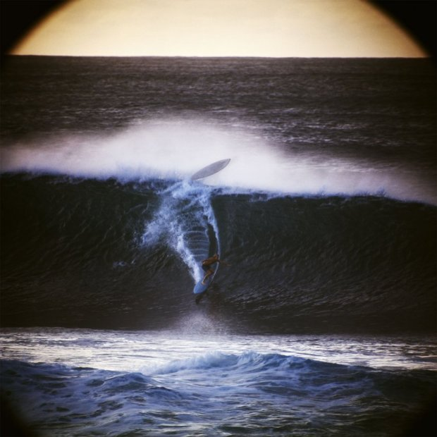 LeRoy Grannis Wipeout, Pipeline, Oahu chromogenic print paper size: 36 x 36 inchesimage size: 30 x 30 inches