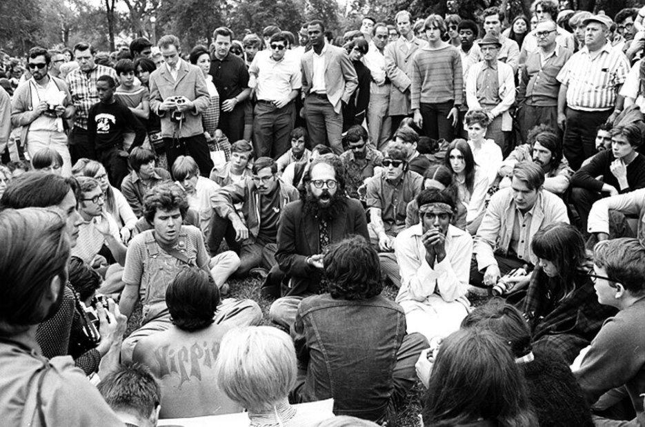 Howard L. Bingham Activist Allen Ginsberg at Democratic Convention, Lincoln Park, Chicago gelatin silver print 20 x 24 inches
