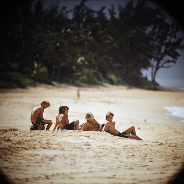 LeRoy Grannis Watching Surfers, Sunset Beach chromogenic print 36 x 36 inches