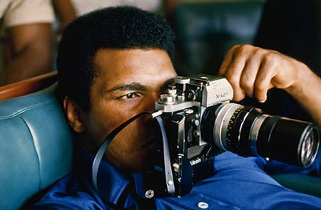 Howard L. Bingham Ali Spying on Foreman, Zaire #C37 cibachrome print 20 x 24 inches