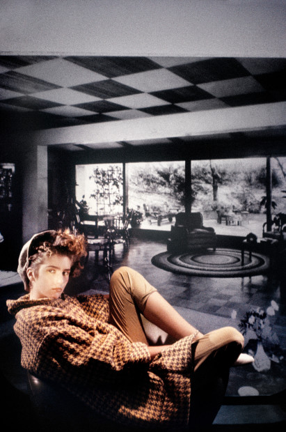 Houndstooth Checked Coat in Black and White Room, 1984