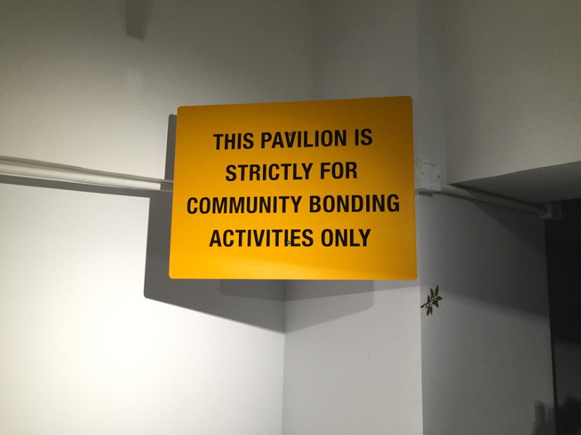 THIS PAVILION IS STRICTLY FOR COMMUNITY BONDING ACTIVITIES ONLY, 2015