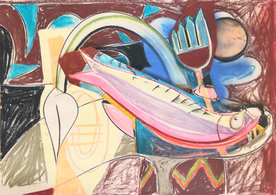 Aurélie Gravas, Still Life with a Fish and a Trumpet, 2020