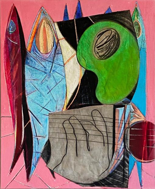 Aurélie Gravas, Big Composition 6 (Fishes and Strings), 2021