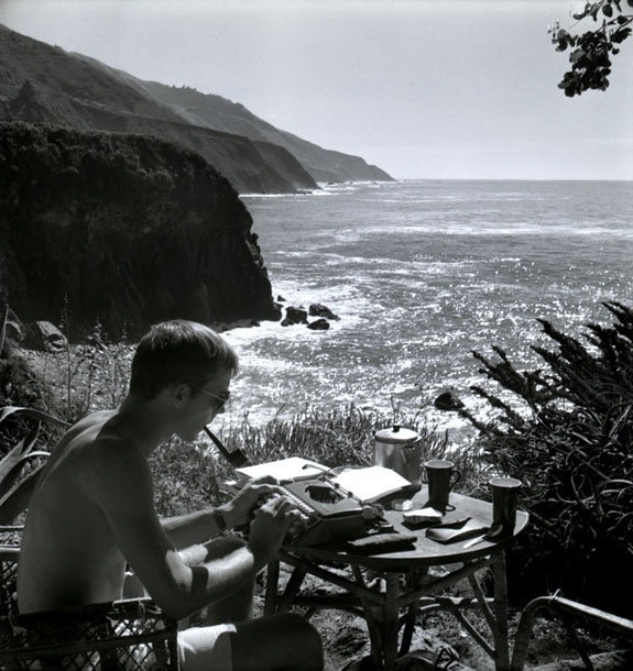 Hunter S. Thompson Self Portrait, Typing, Big Sur gelatin silver print paper size: 30 x 30 inchesimage size: 28 x...