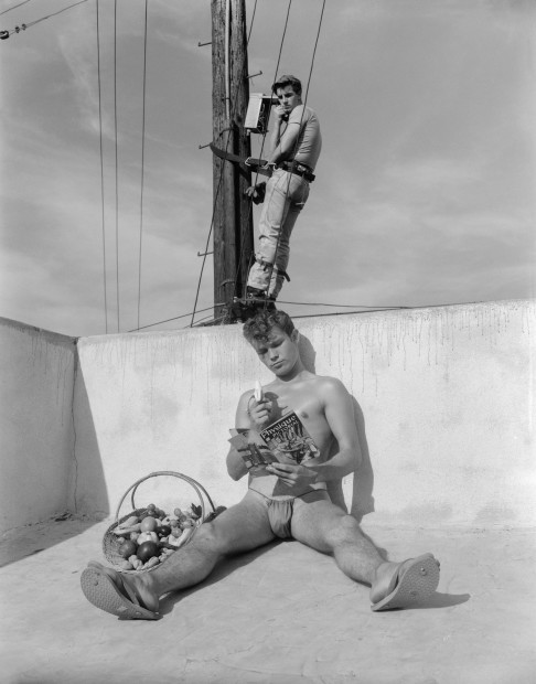 Bob Mizer, Larry Cotrell and Tom Parks, (film still from Telephone Lineman), Los Angeles, 1963