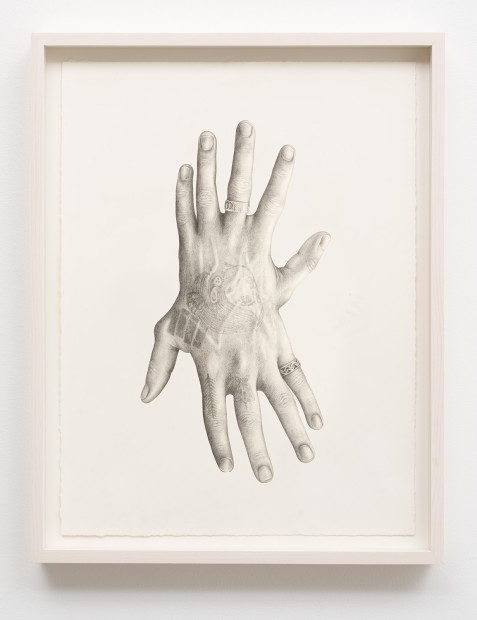 Aurel Schmidt Untitled (Hands) pencil, colored pencil on paper paper size: 21 x 14 inches framed size: 23 x 16-1/4...