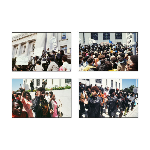 "Howard L. Bingham ""End War & Racism"", Free Huey demonstration outside the Alameda County Courthouse, Oakland chromogenic print 38 x..."