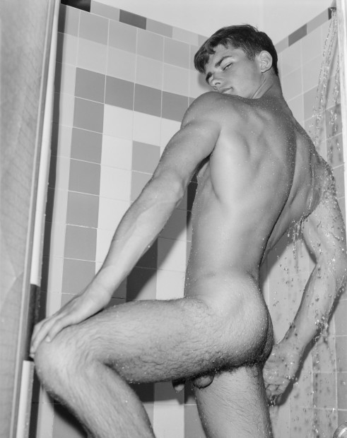 Bob Mizer, Brian Idol (in shower), Los Angeles, 1966