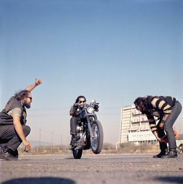 Hunter S. Thompson Hell's Angels, Wheelie, California chromogenic print 36 x 36 inches