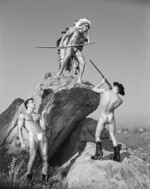 Bob Mizer, Steve Wengryn, Don Fuller and Joe Leitel (western #8), Mojave Desert, California, 1956