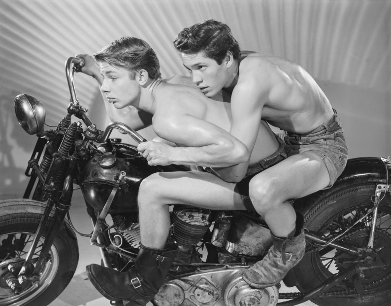 Bob Mizer, David Stubbs and David McCrady (on cycle in boots), Los Angeles, 1961