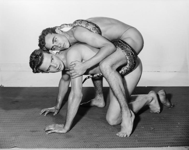 Bob Mizer, Jim Wilson and Guy Richmond (with snake), Los Angeles, 1961