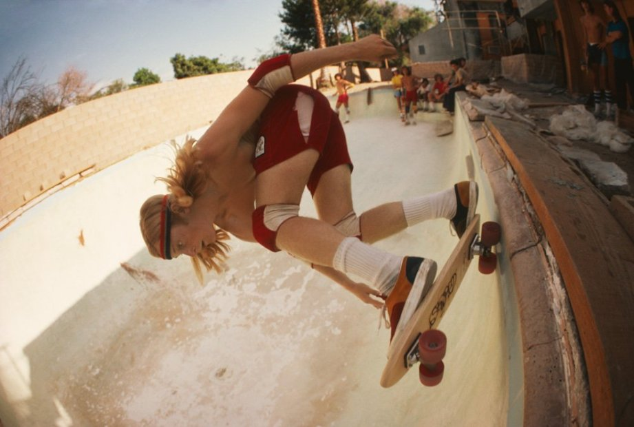 Hugh Holland Stacy Peralta Ripping at Coldwater Canyon Pool chromogenic print 20 x 30 inches