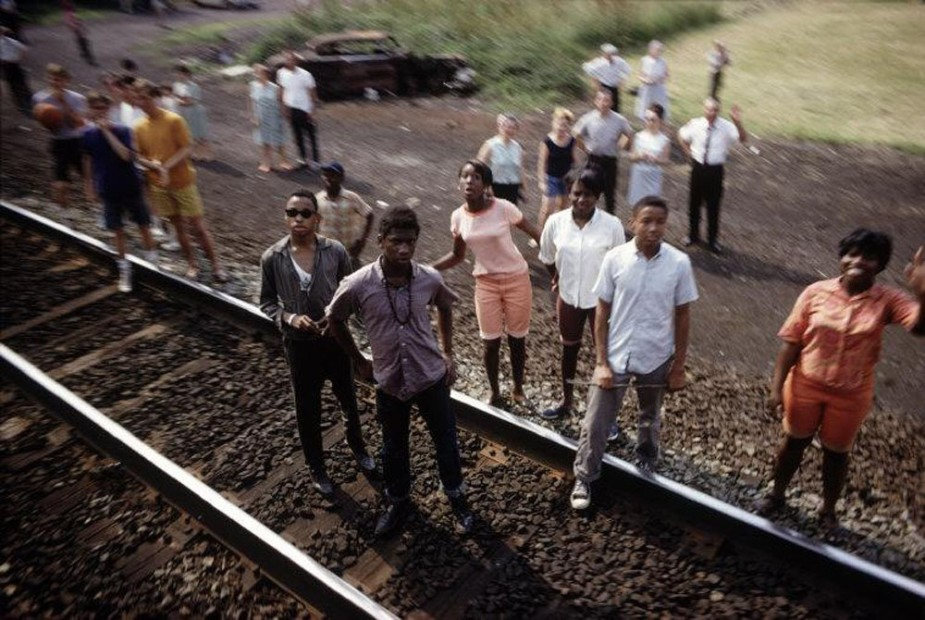 Paul Fusco RFK Funeral Train #2611 chromogenic print paper size: 20 x 24 inchesimage size: 15 x 22 inches
