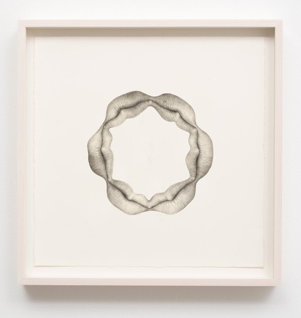 Aurel Schmidt Untitled (Lips) pencil, colored pencil on paper paper size: 15 x 15 inches framed size: 17 x 17...