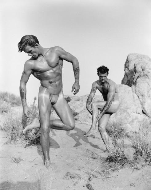 Bob Mizer, John Garner and Bill Edison (with thorns), Mojave Desert, 1954