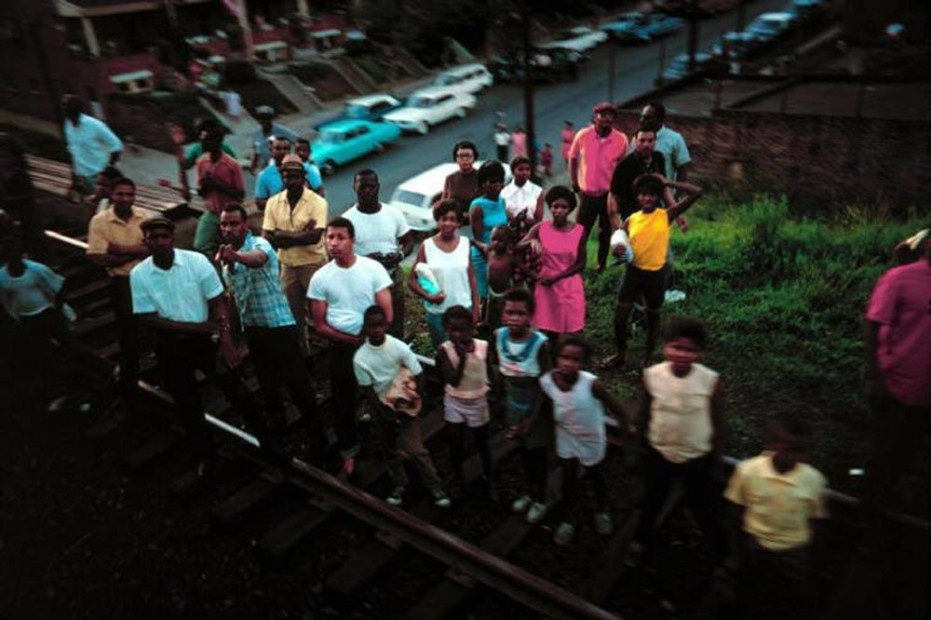 Paul Fusco RFK Funeral Train #2442 chromogenic print paper size: 20 x 24 inchesimage size: 15 x 22 inches