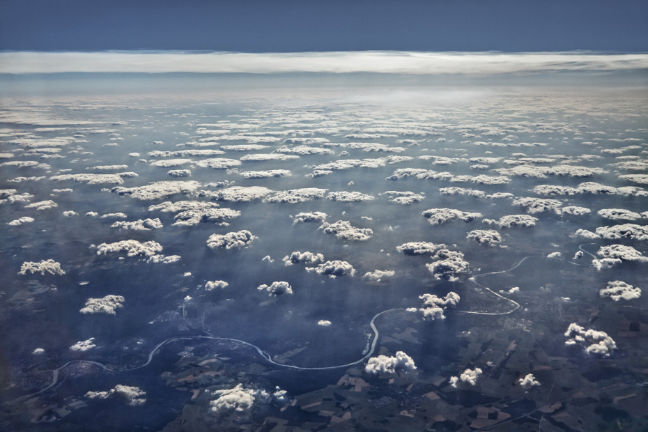 Scott Mead  MRS-LHR 07/05/2013 16:22:43  Summer clouds, winding river, near Paris  Copyright The Artist