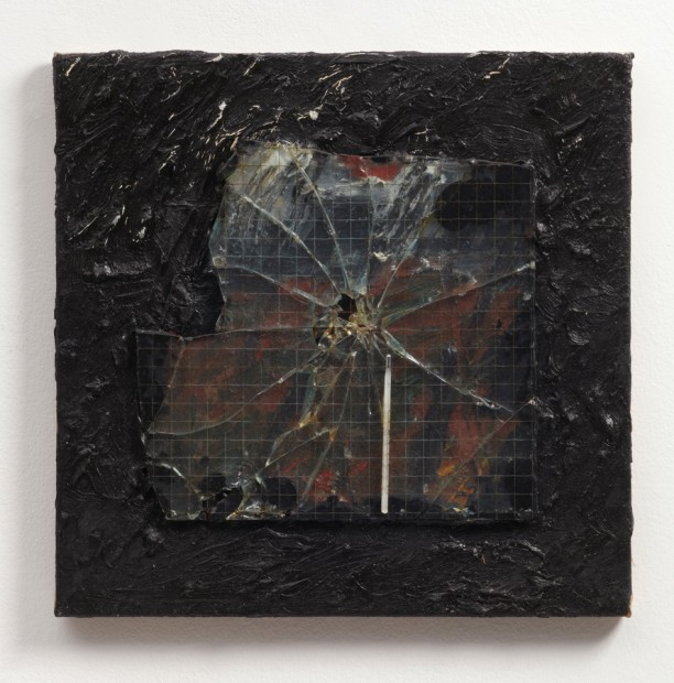 Untitled (Wired Glass/Thermometer), 1990 Oil and mixed media on canvas 40.8 x 41 x 4.5 cm 16 x 16 1/4 x 1/7 in