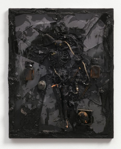 Untitled (skeleton & pearls), 1987 Oil and mixed media on canvas 51.2 x 41 x 6.5 cm 20 1/5 x...