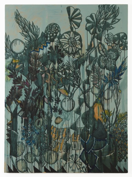 Carole Vanderlinden, Paysage Tropical, 2014, oil, ink and painting lime on canvas, 215 x 140 cm.