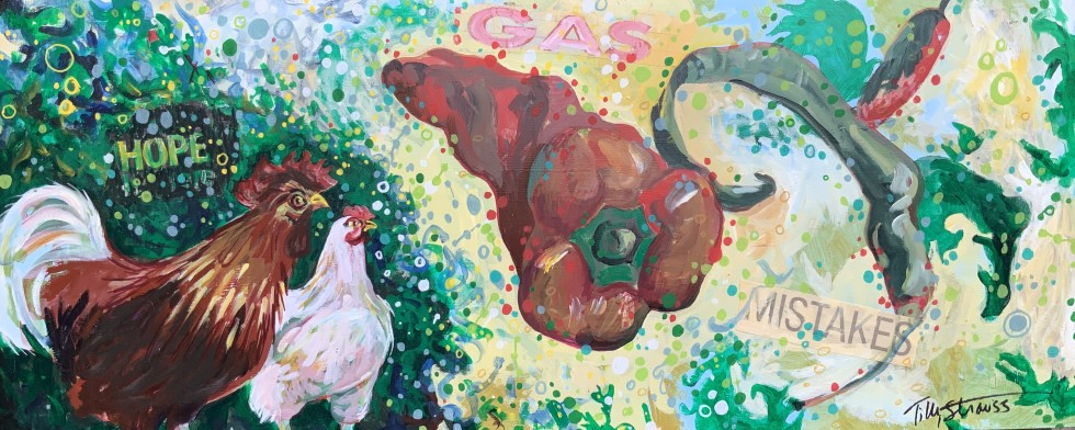 E. Tilly Strauss Chickens in Hot Water 11.5 x 28.25 inches