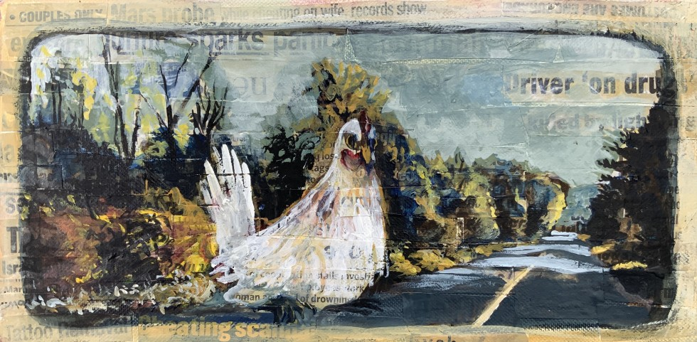 E. Tilly Strauss Hallucinating Hen acrylic and newspaper headlines on canvas 6 x 12 x 2 inches