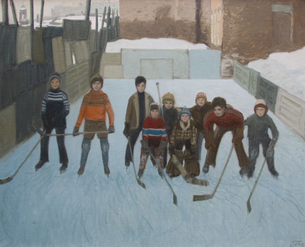 John Little, R.C.A., The Young Skaters and their ice rink Maria Street, St. Henri, Montréal, 1970 Oil on canvas - Huile sur toile 24 x 30 in 61 x 76.2 cm