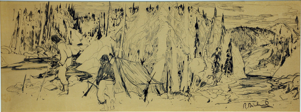 René Richard, C.M., R.C.A., Trappeurs dans le Nord Dessin au crayon sur papier 7 1/2 x 19 1/2 in 19.1 x 49.5 cm