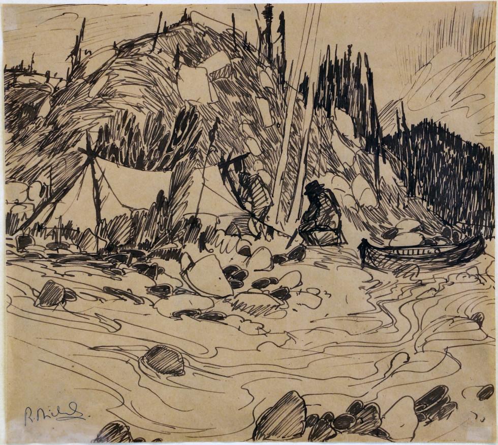 René Richard, C.M., R.C.A., Encampement du trappeur, 1981 Dessin à la plume 12 1/4 x 13 3/4 in 31.1 x 34.9 cm