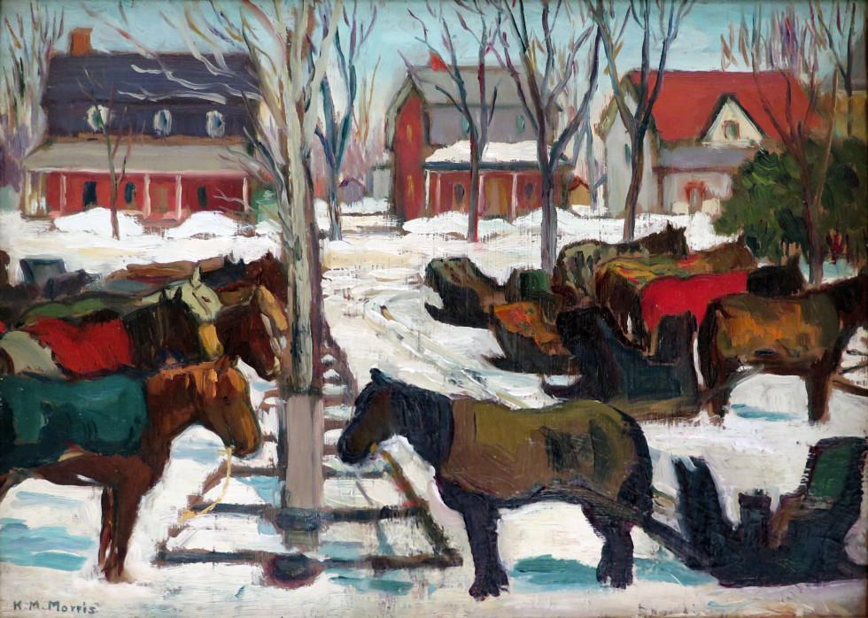 Kathleen Moir Morris, A.R.C.A., Hitching Posts, Berthierville, 1925 (circa) Oil on panel - Huile sur panneau 10 x 13 1/2 in 25.4 x 34.3 cm