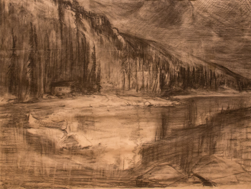 René Richard, C.M., R.C.A., Scène Grand-Nord. Canot et camp de trappeur, 1941 Dry medium on paper - Technique sèche sur papier 15 1/4 x 20 1/2 in 38.7 x 52.1 cm