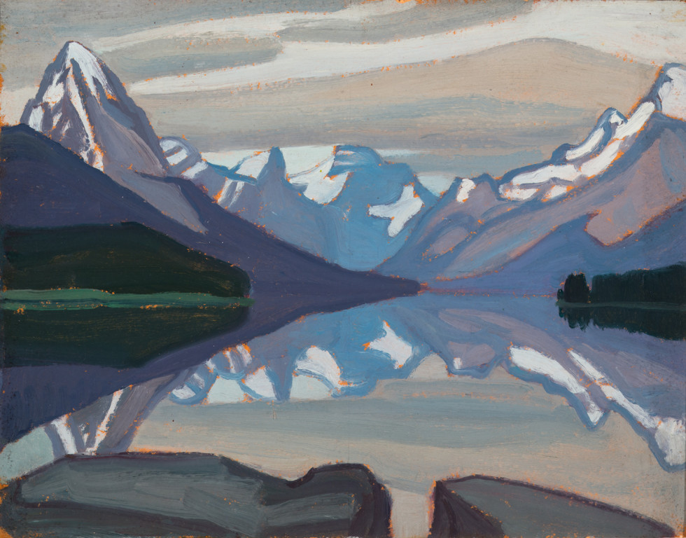 Lawren S. Harris, C.C., LL.D., Maligne Lake, Jasper Park, 1924 Oil on Beaverboard - Huile sur Beaverboard 10 x 13 in 25.4 x 33 cm