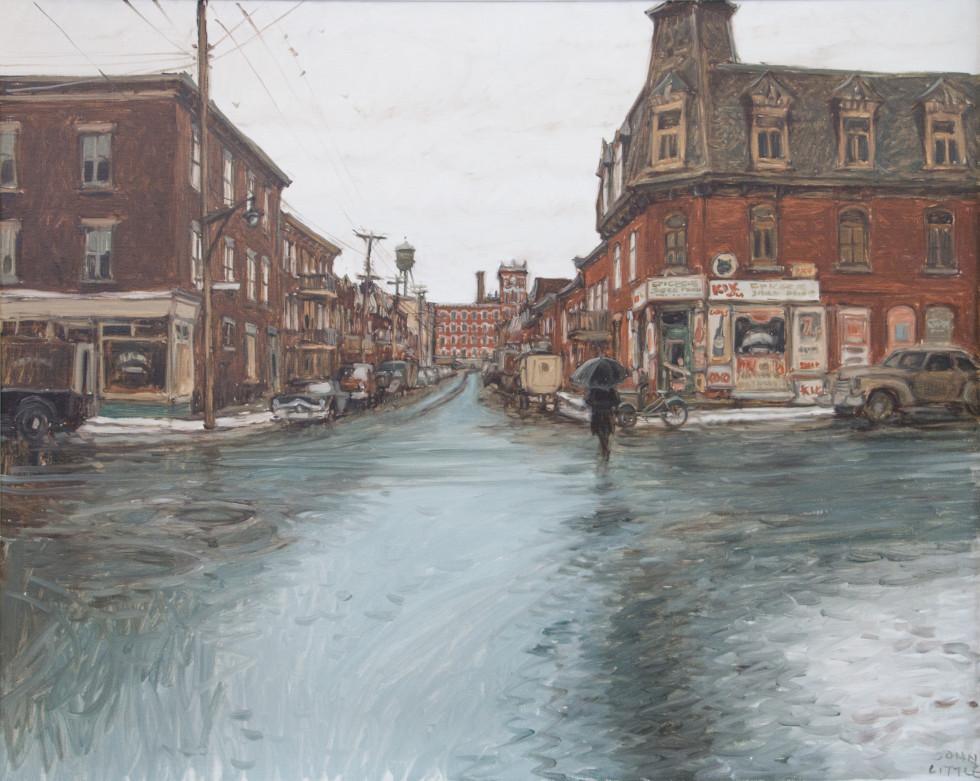 John Little, R.C.A., Rue Poupart - Lafontaine d'autrefois, Montreal, 1974 Oil on canvas - Huile sur toile 24 x 30 in 61 x 76.2 cm