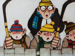 Normand Hudon, La fameuse «Kid Line» de St-Fabien, 1992 Acrylic on canvas - Acrylique sur toile 18 x 24 in 45.7 x 61 cm