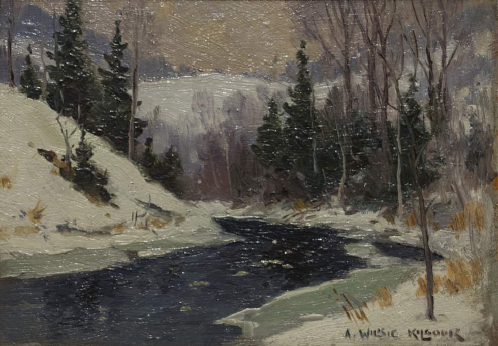 A. Wilkie Kilgour, March Day, Laurentians Oil on panel - Huile sur paneau 4 1/2 x 6 1/2 in 11.4 x 16.5 cm