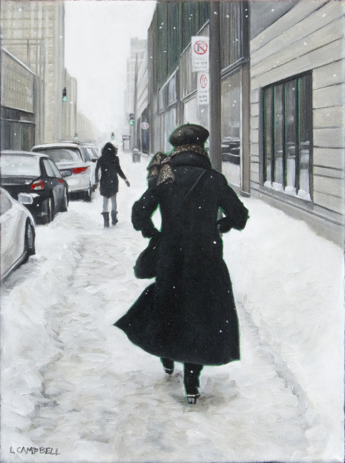 Laurie Campbell, Ste. Catherine St. West (Woman with Beret), 2018 Oil on canvas - Huile sur toile 12 x 9 in 30.5 x 22.9 cm
