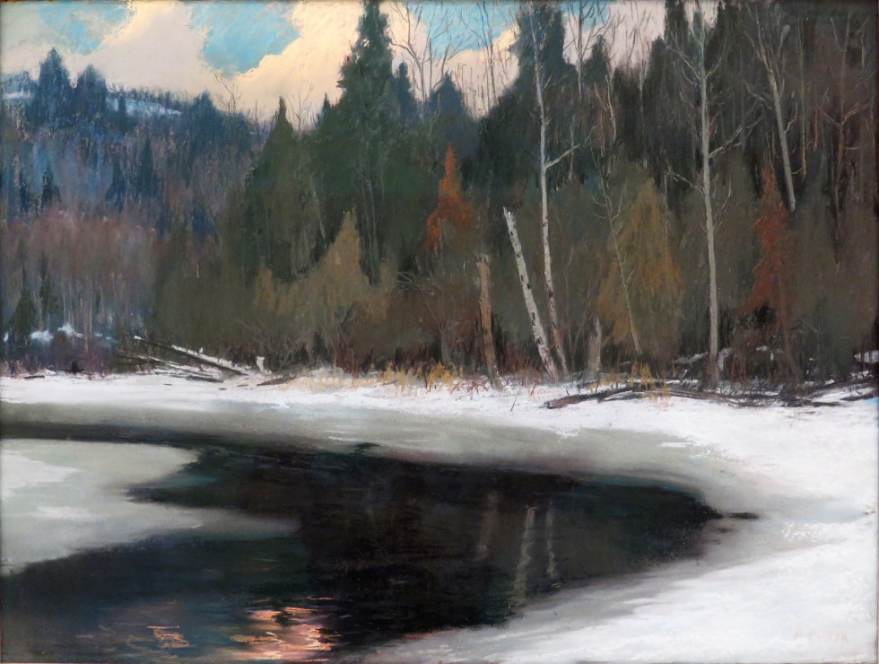 Maurice Cullen, R.C.A., Twilight in the Laurentians Pastel 23 1/2 x 31 3/4 in 59.7 x 80.6 cm
