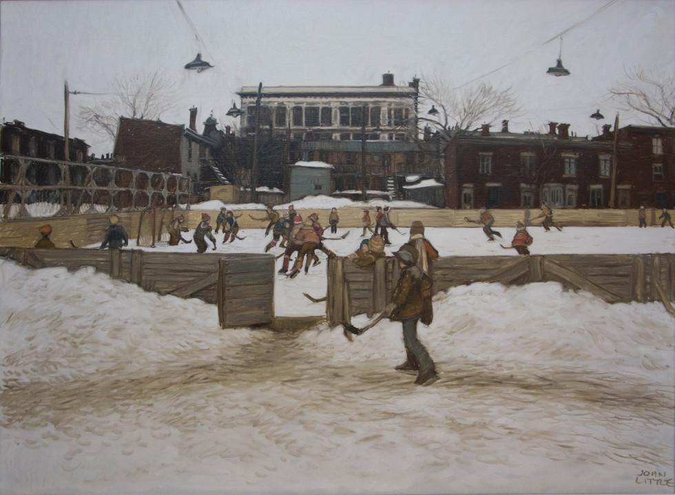 John Little, R.C.A., Skating Rink at rue Ste. Rose and Champlain - Montréal d'autrefois - before Édifice Channel 10, 1979 Oil on canvas - Huile sur toile 30 x 40 in 76.2 x 101.6 cm