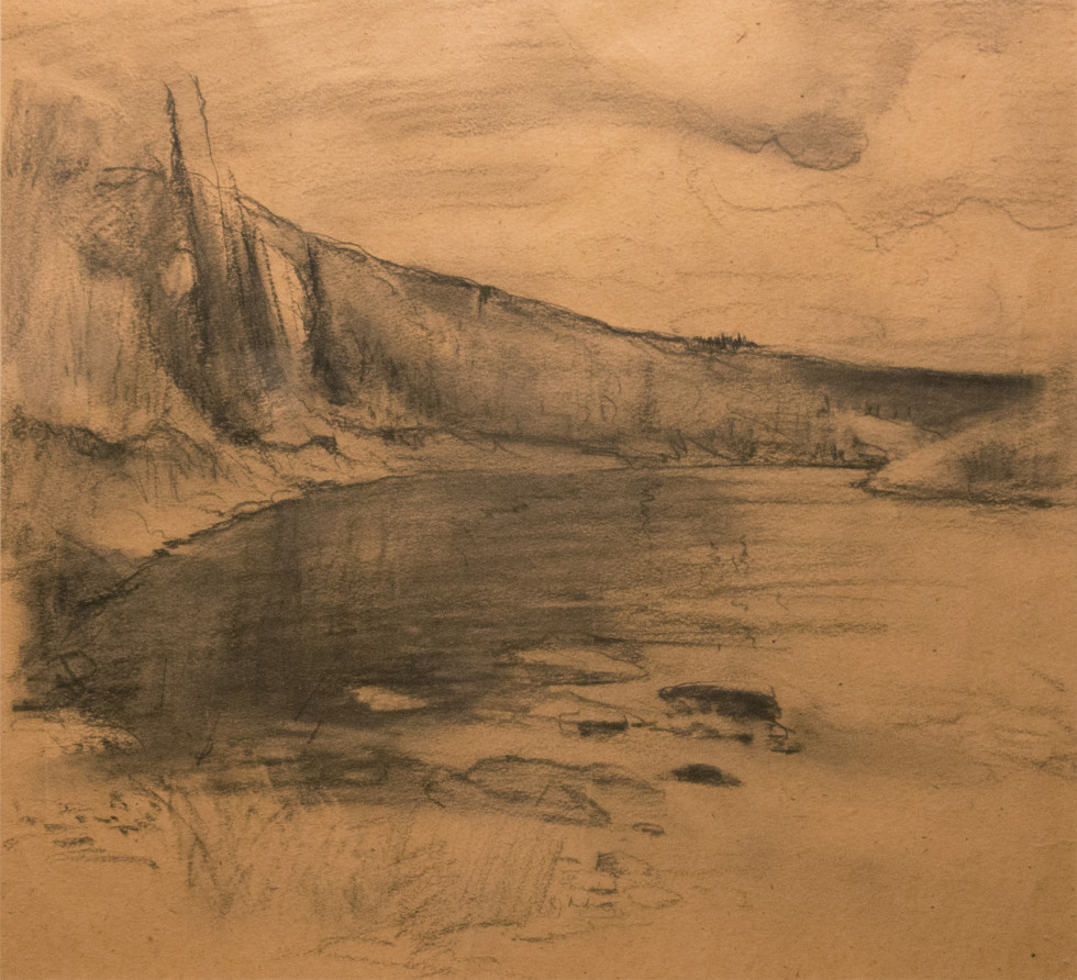 René Richard, C.M., R.C.A., Solitude. Grand Nord Canadien Charcoal drawing on paper - Dessin au fusain sur papier 15 3/4 x 18 in 40 x 45.7 cm