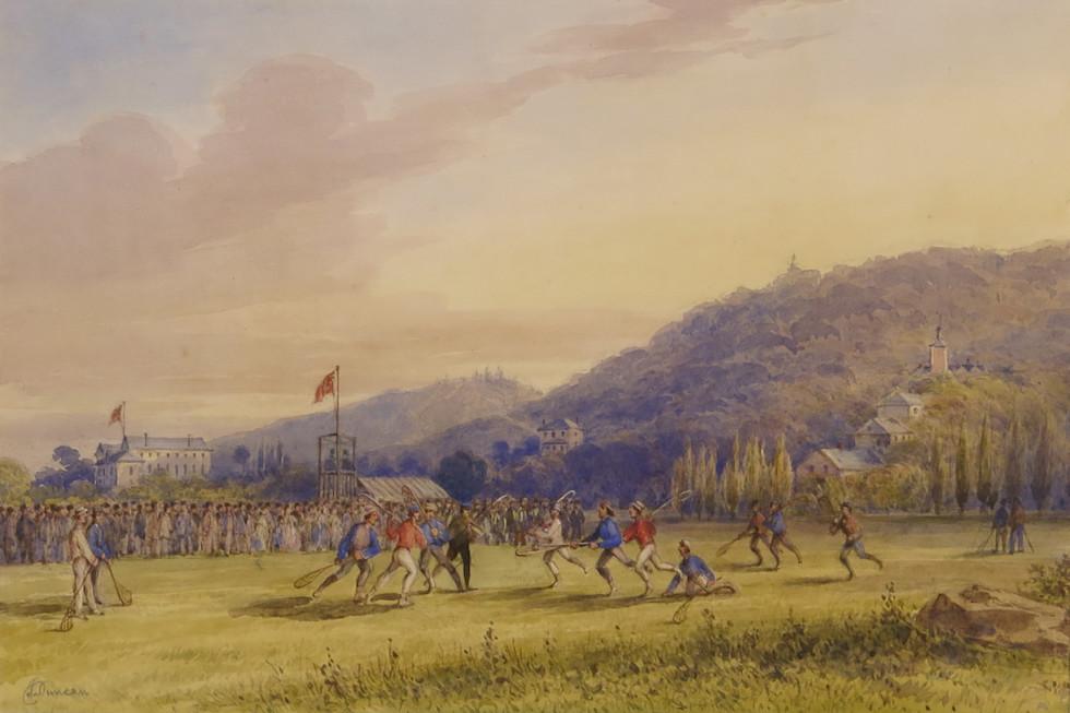 James Duncan, A.R.C.A., Lacrosse Match, Fletcher's Field, 1859 (circa) Watercolour - Aquarelle 12 x 18 in 30.5 x 45.7 cm