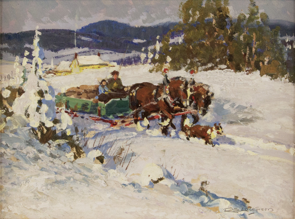 Robert E. Lougheed, March Day Near Lachute Oil on panel - Huile sur panneau 8 x 10 in 20.3 x 25.4 cm
