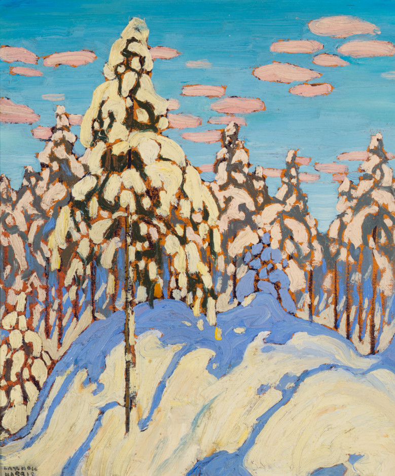 Lawren S. Harris, C.C., LL.D., Snow Laden Trees, 1916 Oil on wood - Huile sur bois 12 1/2 x 10 1/2 in 31.8 x 26.7 cm