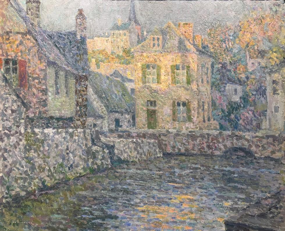 HENRI LE SIDANER  Maison sur la rivière, Falaise, 1920